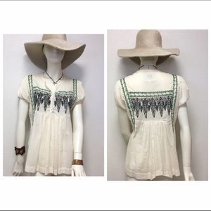 Chelsea & Violet Tops - Boho Style Embroidered Babydoll Peasant Blouse
