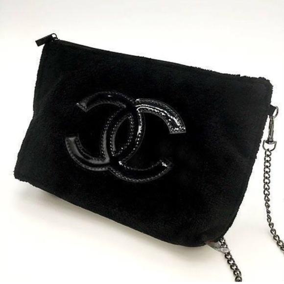 fe33f7d4f1de New Chanel Black Chain Cosmetic Cross Bag VIP Gift