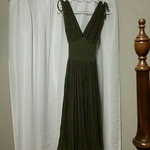 Olive green gauze dress