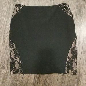 Black Lace Inset Body Con Skirt