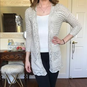 Pink Rose Sweaters - Pink Rose Cream cardigan size small