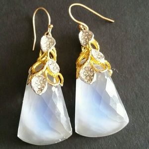Alexis Bittar Jewelry - Alexis Bittar earrings, lucite/gold trim/blue hue