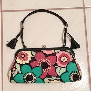 Isabella Fiore Handbags - ISABELLA FIORE FLORAL BEADED LEATHER TRIM BAG VGUC