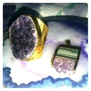Jewelry - Amethyst Druzy Ring & Pendant Set - 24K Goldplated