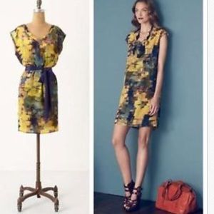Anthropologie Maeve abstract painterly silk dress