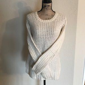 Women's Cream Waffle Sweater Size S