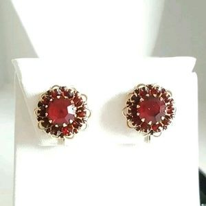 Sarah Coventry  Jewelry - MIB Sarah Coventry Burgundy Clip Earrings