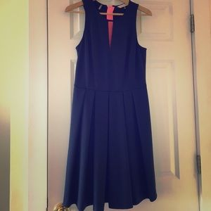 Pleated Rebecca Taylor keyhole dress in Navy blue