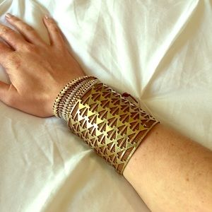 Piperlime Leather Cuff with Gold Arrowhead Overlay