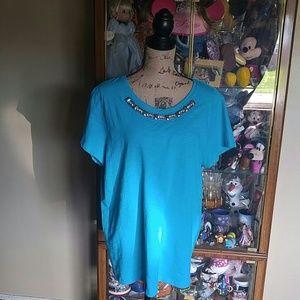 St. John's Bay beautiful aqua blue blouse