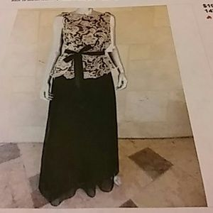 Alex Evenings Dresses & Skirts - Black lace overlay ribboned A-lined evening dress.