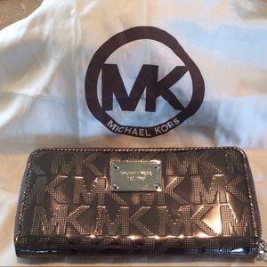Michael Kors signature MK metallic mirror wallet