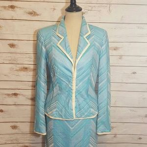 Escada Jackets & Blazers - {vintage} Escada metallic blue skirt suit
