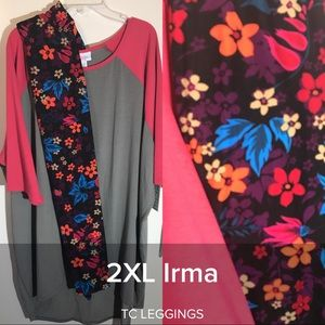 Lularoe 2x pink gray Irma & TC Floral leggings NWT