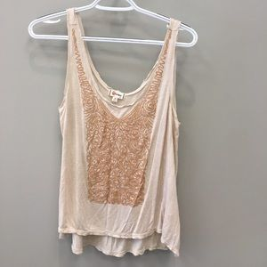 Olsenboye Tops - Embroidered Distressed Tank Top
