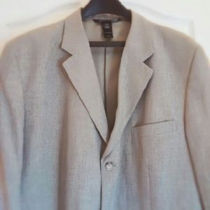 Men's Grey 55% Linen 45% Rayon Sports Coat 46L
