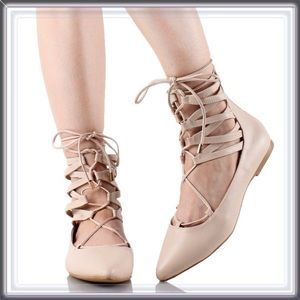 Shoes - 🆕 Nude Ballet Lace Up Flats