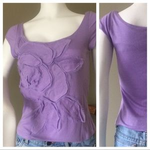 Lavender Romantic Floral Appliqué Size Small Top