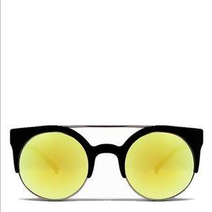 {QUAY} 'Livnow' Black Yellow Mirror Sunglasses