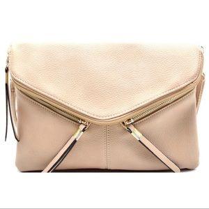 GlamVault Handbags - Beige Rebecca Crossbody & Wristlet Handbag