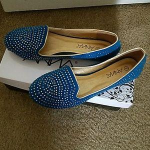 anna Shoes - Slide on Flats Sparkle. Embellished blue by Anna
