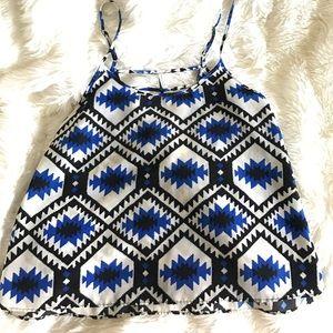 Alythea Tops - Alythea Aztec blue, black and white tank, small