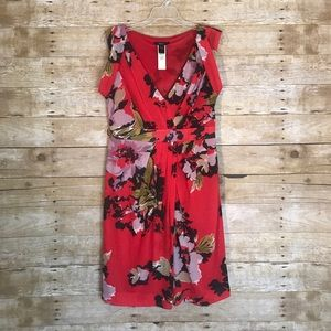 MNG Suit Dresses & Skirts - MNG Suit Red Floral Draped Dress