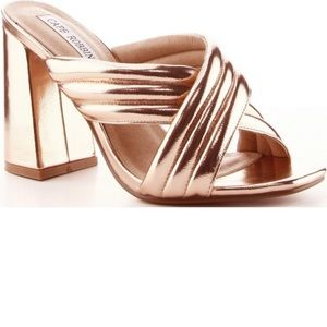 Shoes - Gucci-style ROSE GOLD cross cross sandals