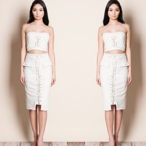 Lace Up Suede Crop Top Skirt Set