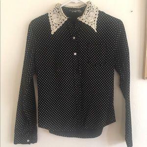 Vintage black & white polka dot dress shirt