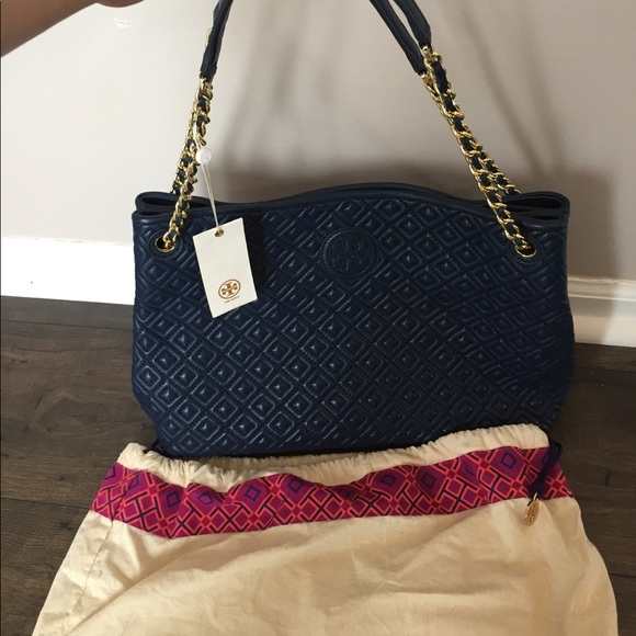 Tory Burch Bags Marion Quilted Tote In Navy Poshmark
