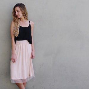 blush netted midi skirt