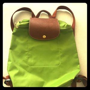 Longchamp Handbags - Longchamp Le Pliage lime green backpack