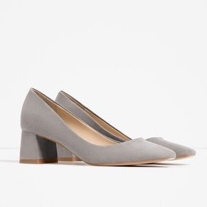 ZARA light grey block heels