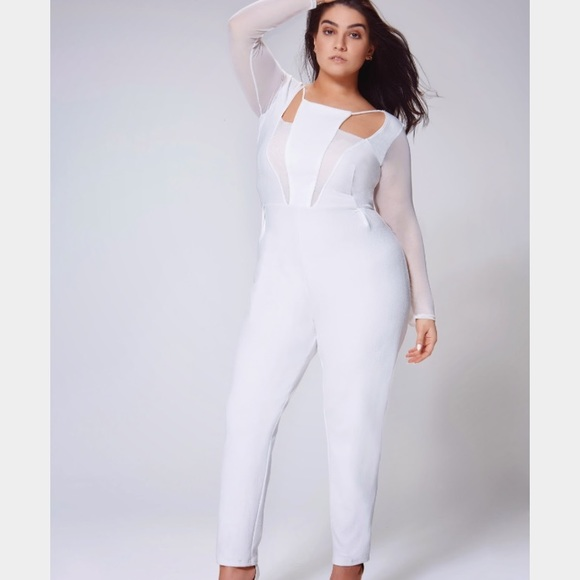4945545cb9 Nadia x Boohoo White Mesh Jumpsuit