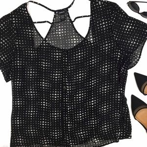 torrid Tops - Torrid Black & White Heart Print Sheer Blouse