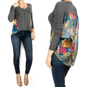 Anthropologie Sweaters - Anthropologie yellow bird sheer floral cardigan