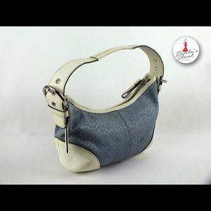 Sale❤️Coach small Hobo Handbag White and Blue