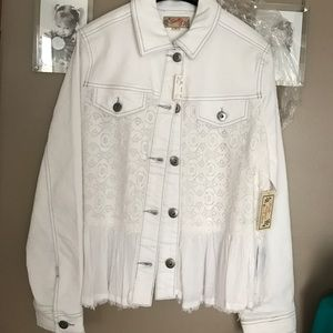 Scully Jackets & Blazers - NWT lace accent jean jacket