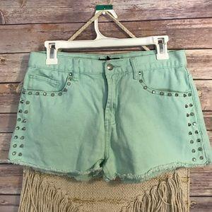 Forever 21 Pants - Mint green shorts silver studded denim shorts