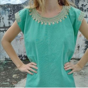 Ketzali Tops - Cotton Blouse Hand Embroidered in Mexico