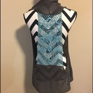 Anthropologie Knitted and knotted crochet cardigan