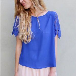 blue lace sleeve blouse