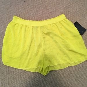 Zara yellow silky shorts NWT