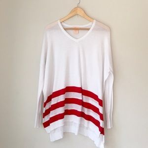 Sweet Romeo Sweaters - Sweet Romeo Red Striped Oversized V-Neck Sweater