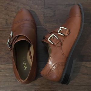 Monk Strap Brown Leather Oxford Shoes
