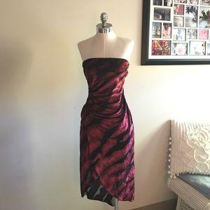 Bebe strapless burn out velvet dress