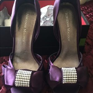 Adrienne Maloof Shoes - New Satin rhinestone embossed shoes