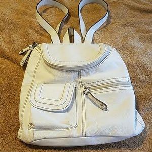Tignanello Handbags - Tignanello White Leather Backpack Purse