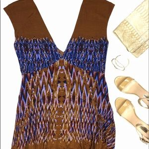 Free People Dresses & Skirts - Free People Brown & Blue Ikat Festival Print Dress